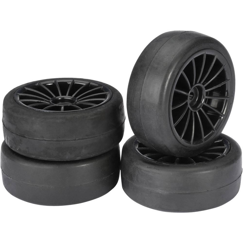 Komplet koles za cestne modele Absima, 1:10, profil Slick, 20 naper, črna, 4 kosi