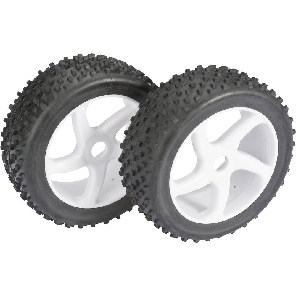 Komplet koles za modele Buggy, Absima, 1:8, 4-robni Multispike, platišča S-Design, bela, 2 kosa