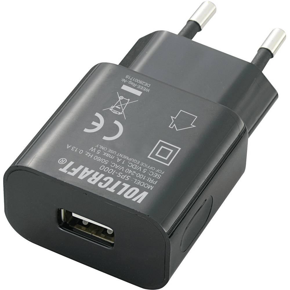 Vägguttag USB-laddare VOLTCRAFT SPS-1000 USB 1 xUSB 1000 mA Svart