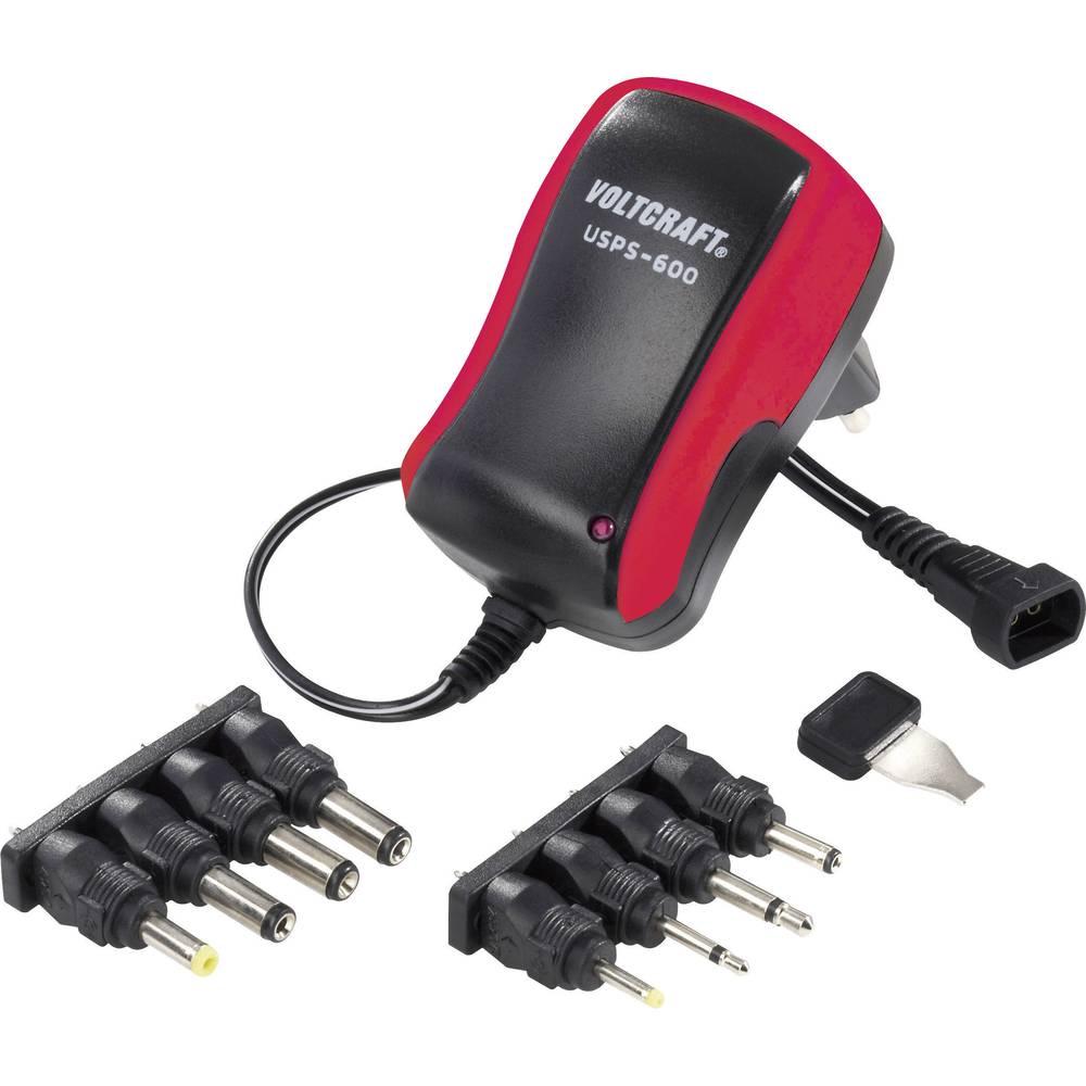 Vtični napajalnik, nastavljiv VOLTCRAFT USPS-600 red 3 V/DC, 4.5 V/DC, 5 V/DC, 6 V/DC, 7.5 V/DC, 9 V/DC, 12 V/DC 600 mA 7.2 W