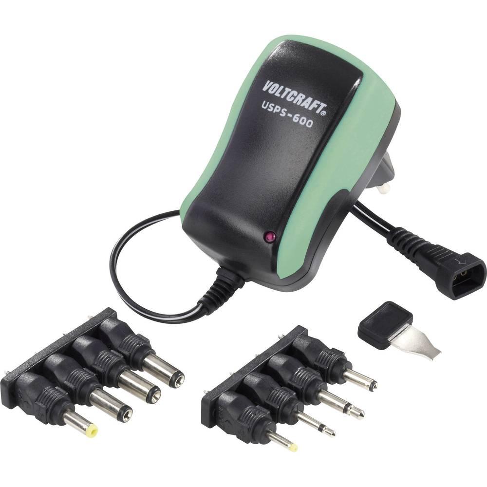 Vtični napajalnik, nastavljiv VOLTCRAFT USPS-600 green 3 V/DC, 4.5 V/DC, 5 V/DC, 6 V/DC, 7.5 V/DC, 9 V/DC, 12 V/DC 600 mA 7.2 W