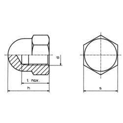 Sexkant-kupolmuttrar TOOLCRAFT M6 D1587-STAHL:A2K M6 DIN 1587 Stål förzinkad 10 st