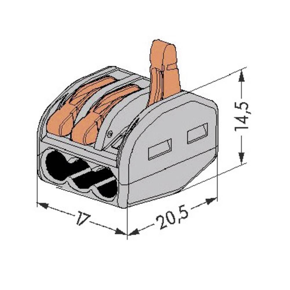 Sponka serije 222 WAGO Prečniprerez Finožični 0,08-4 mm2 ,enožični do 2,5 mm2 32 A Siva 222-413