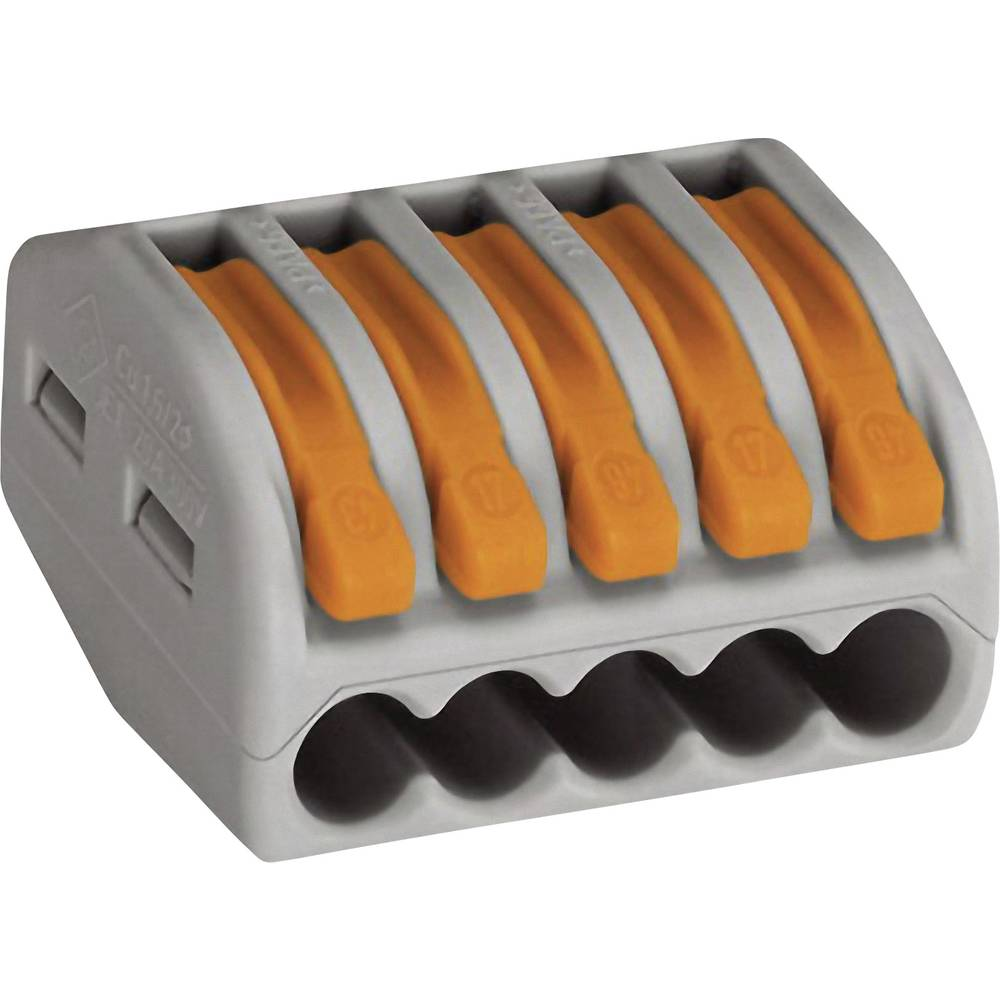 Forbindelsesklemme ATT.CALC.CROSS_SECTION_FLEXIBLE: 0.08-4 mm² ATT.CALC.CROSS_SECTION_RIGID: 0.08-2.5 mm² Poltal: 5 WAGO 222-415