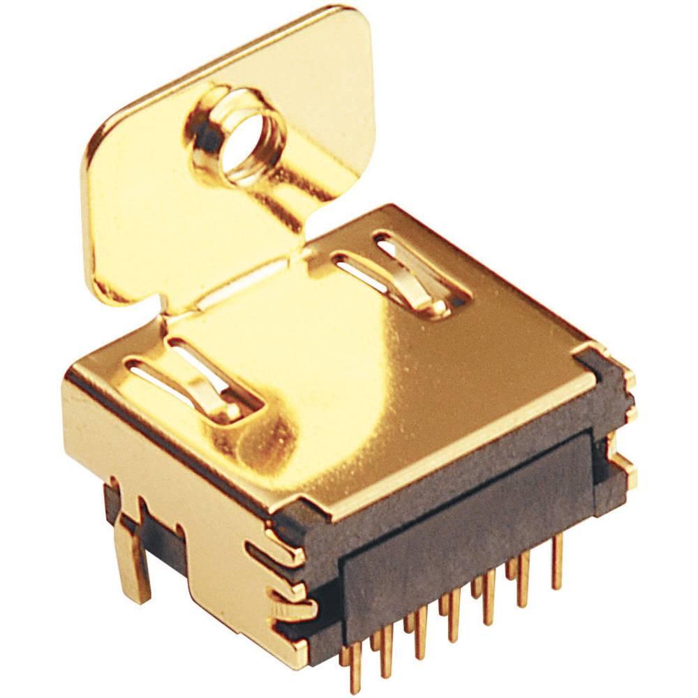 Vgradni ženski konektor, združljiv s HDMI, s pritrditvijo naprirobnico za tiskano vezje, 907000 BKL Electronic
