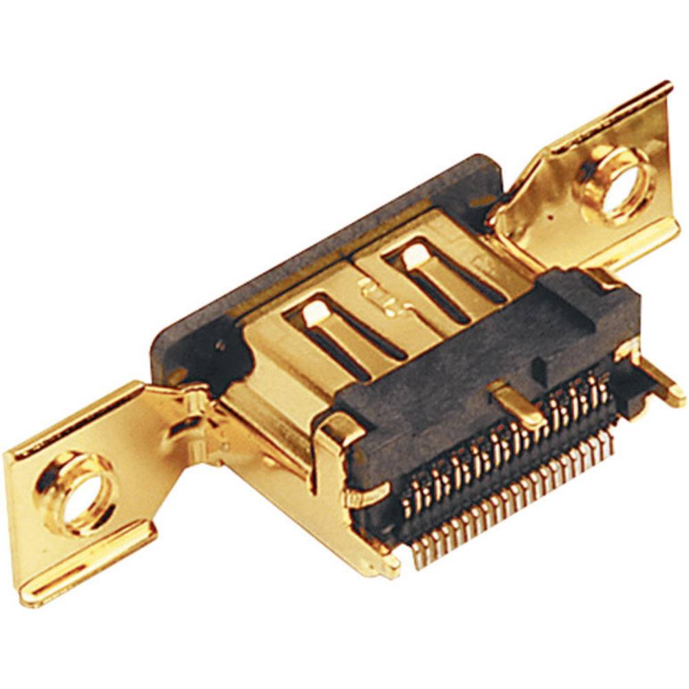Vgradni ženski konektor, združljiv s HDMI, s pritrditvijo naprirobnico za tiskano vezje, 907002 BKL Electronic