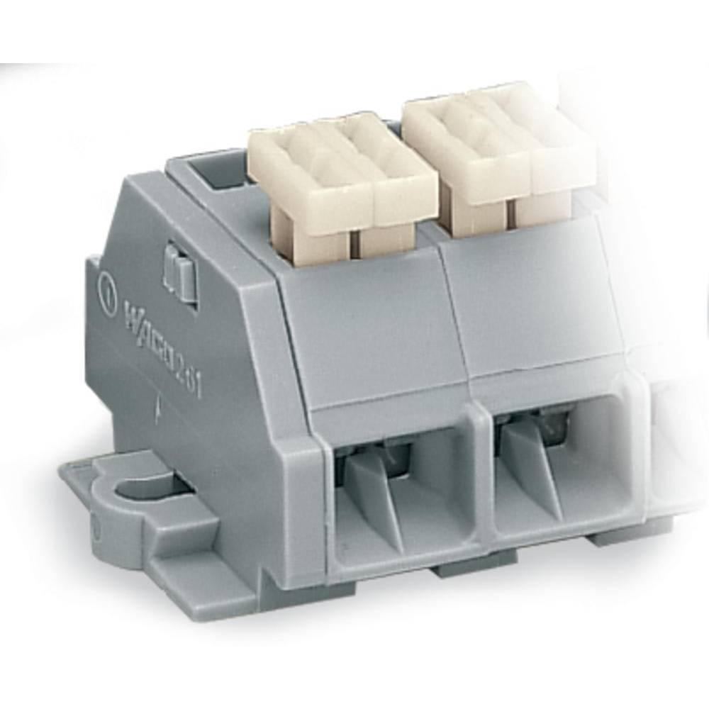 Klemmerække 10 mm Trækfjeder Belægning: L Grå WAGO 261-208/332-000 50 stk