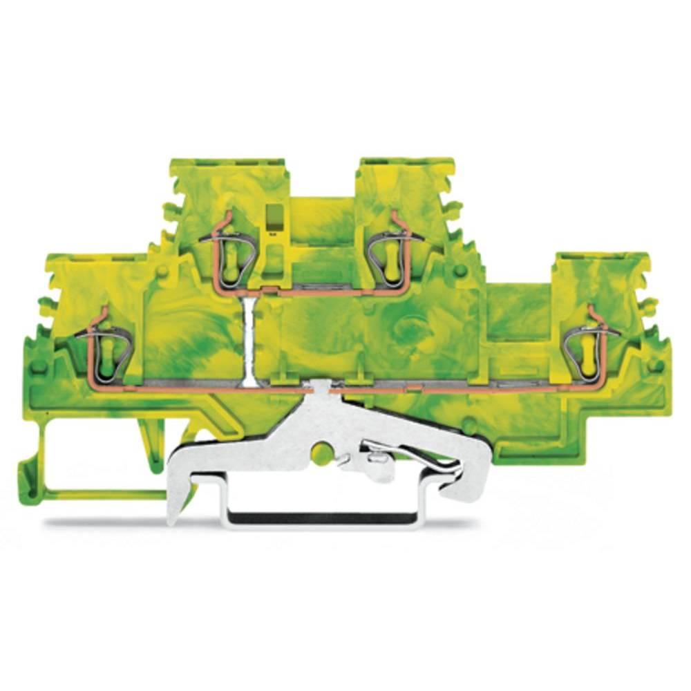 Dobbeltlags-beskyttelseslederklemme 4 mm Trækfjeder Belægning: Terre Grøn-gul WAGO 279-507 50 stk