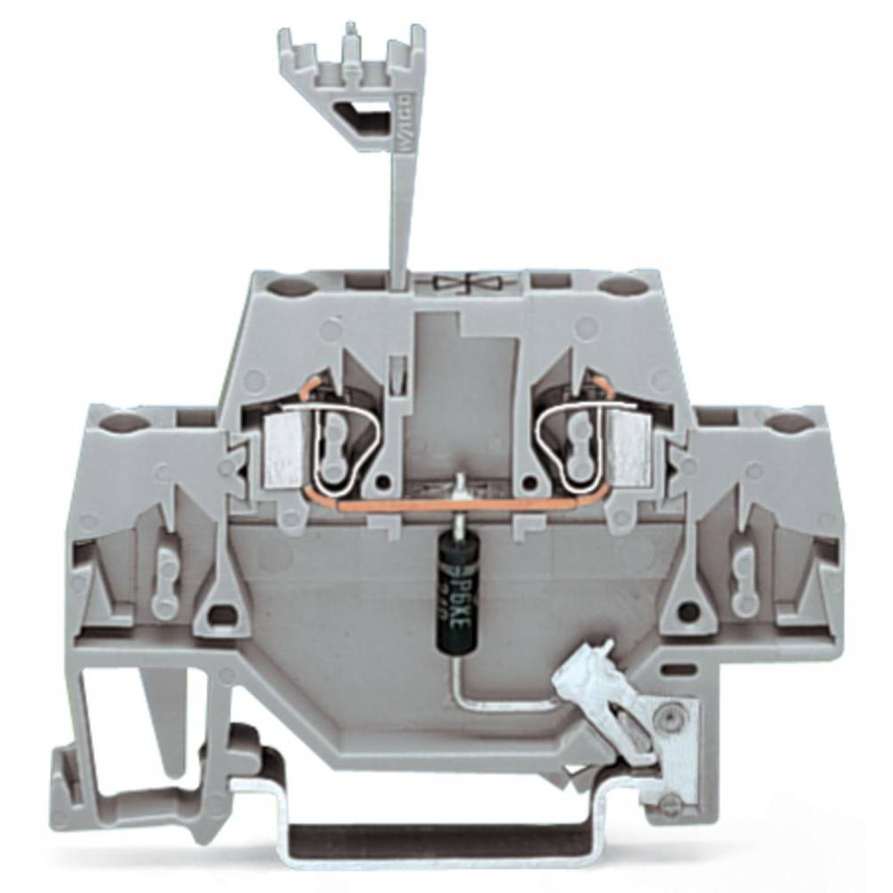 Enkelt klemme 5 mm Trækfjeder Belægning: L Grå WAGO 280-502/281-602 50 stk
