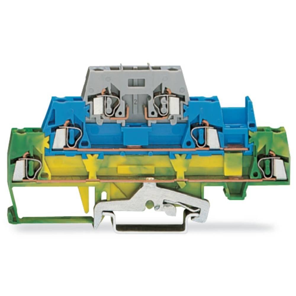 Trippel-gennemgangsklemme 5 mm Trækfjeder Grøn-gul, Blå , Grå WAGO 280-510 50 stk