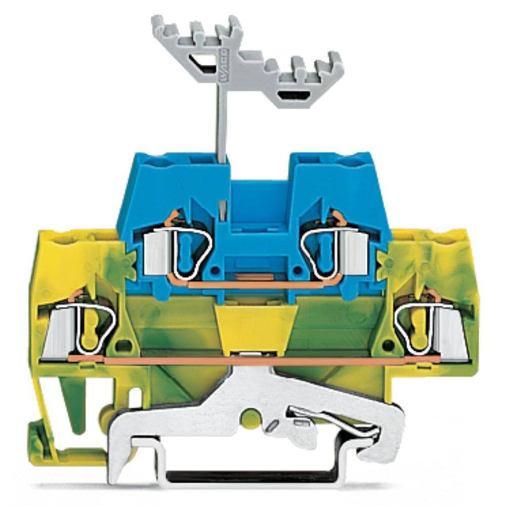 Dobbeltlags-gennemgangsklemme 5 mm Trækfjeder Grøn-gul, Blå WAGO 280-537 50 stk
