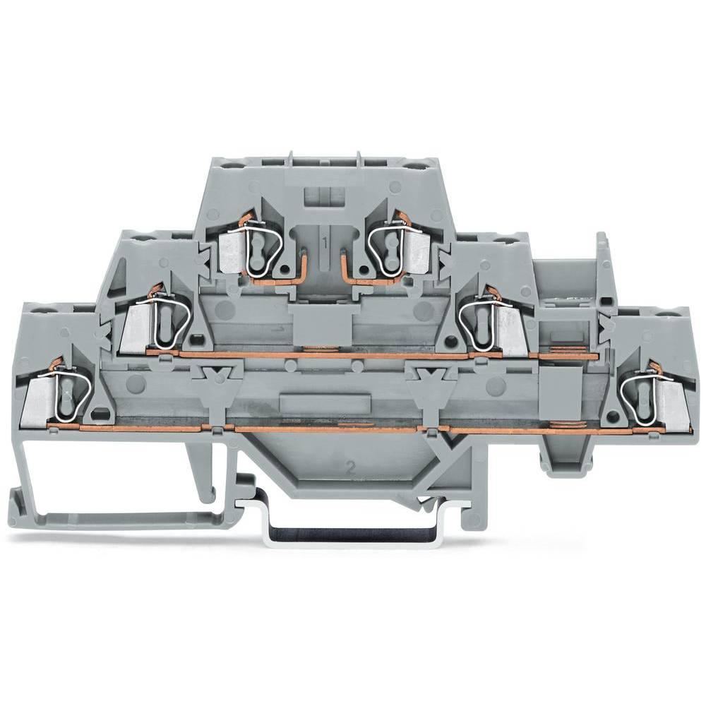 Trippel-gennemgangsklemme 5 mm Trækfjeder Belægning: L Grå WAGO 280-889 50 stk