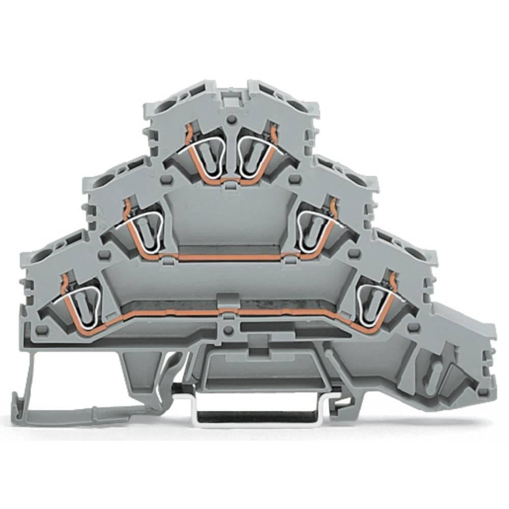 4x-gennemgangsklemme 6 mm Trækfjeder Belægning: L Grå WAGO 281-532 50 stk