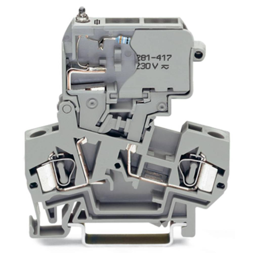 Sikringsklemme 8 mm Trækfjeder Belægning: L Grå WAGO 281-611/281-418 50 stk