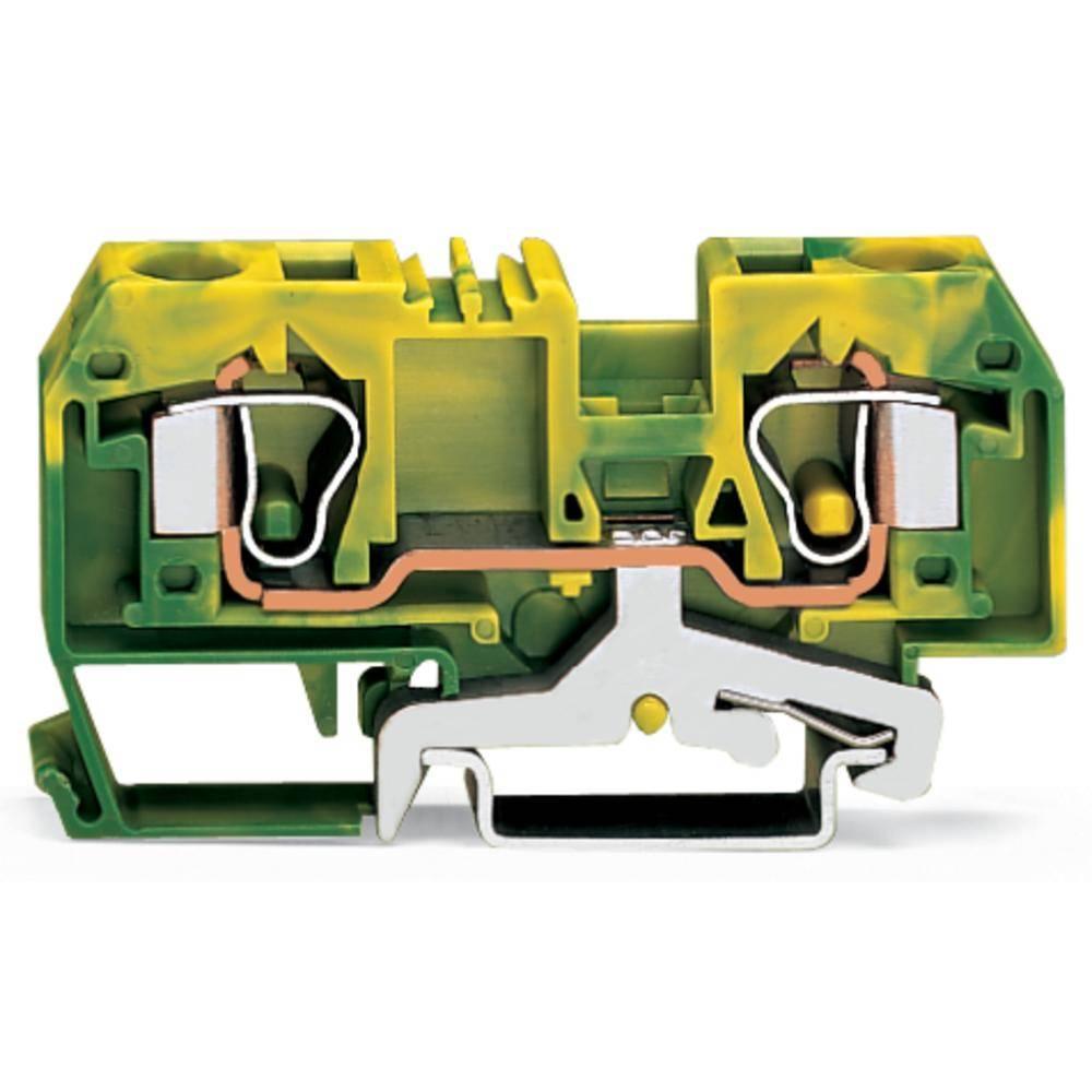 Jordklemme 10 mm Trækfjeder Belægning: Terre Grøn-gul WAGO 284-907/999-950 25 stk