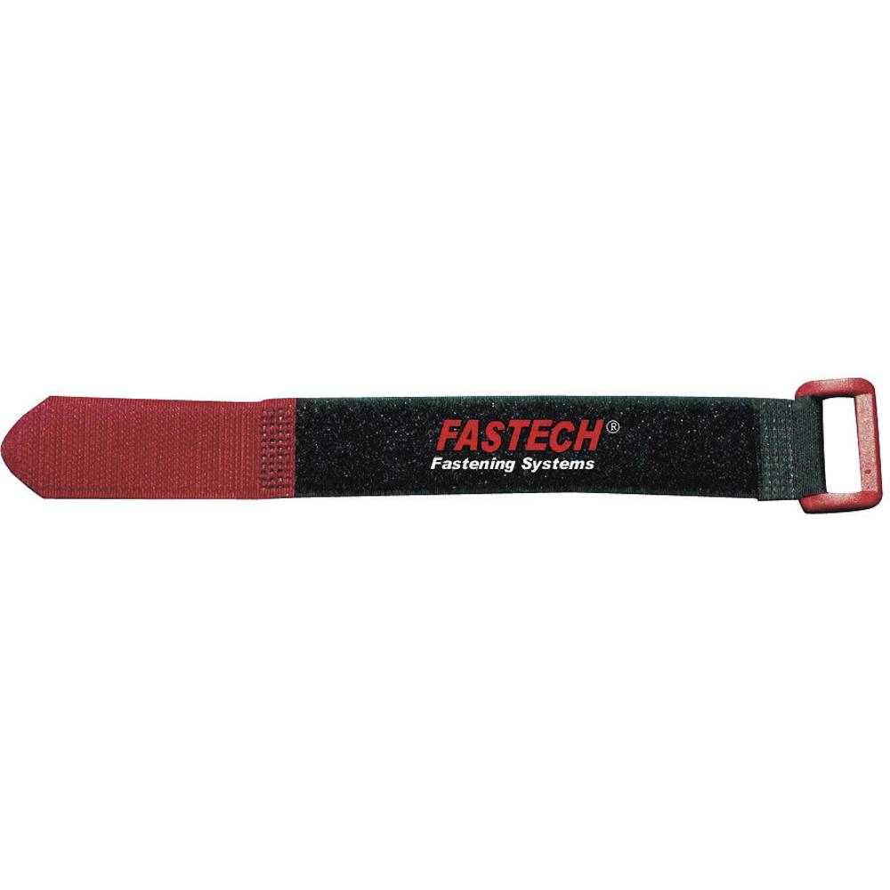 Kabelska vezica s čičkom 924-330C Fastech prianjajući i mekani dio (D x Š) 335 mm x 25 mm crna, crvena 2 komada