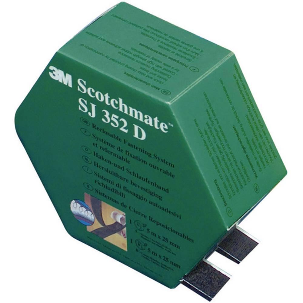 Samolepilni sprijemalni trak 3M, prijemalni in mehki del, (D x Š) 5000 mm x 25.4 mm, črne barve, SJ 352D Scotchmate, 1 par