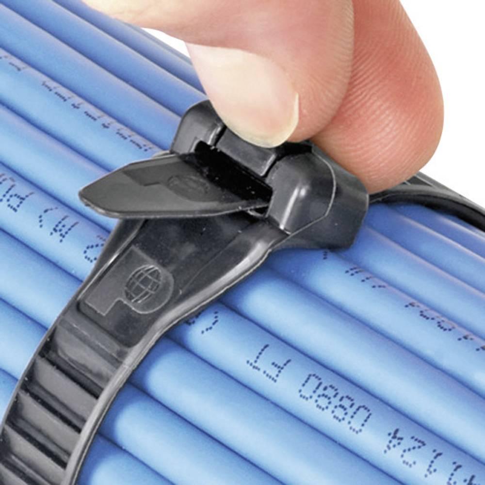 Vezice za kabele 279 mm crne boje, za višekratnu upotrebu, UV-stabilno, vrlo fleksibilne, Panduit ERT3M-C20 1 kom