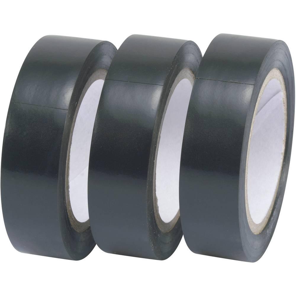 Izolirni trak v setu TRU Components črne barve (D x Š) 10 m x 15 mm vsebina: 3 koluti