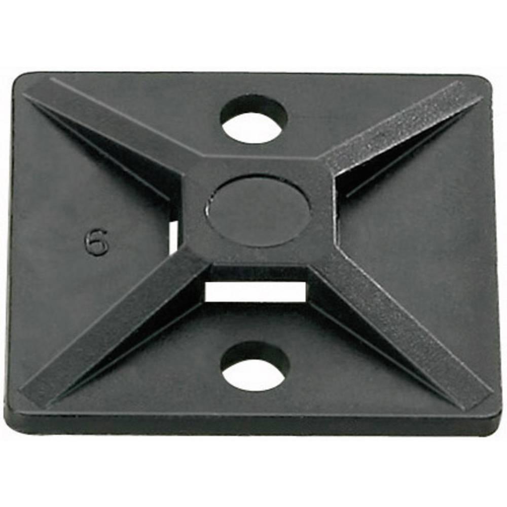 Pritrdilno podnožje, samolepljivo, namestitev s privijanjem črne barve HellermannTyton 151-28430 MB4A3-N66-BK-C1 1 kos