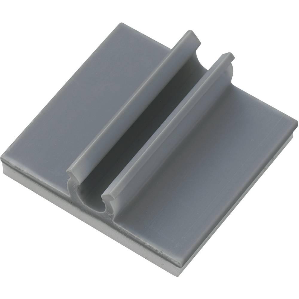 Samoljepljiva držalo za kable, sivo, 1 komad