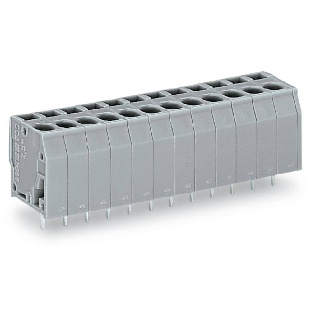 Fjederkraftsklemmeblok WAGO 2.50 mm² Poltal 15 Grå 60 stk