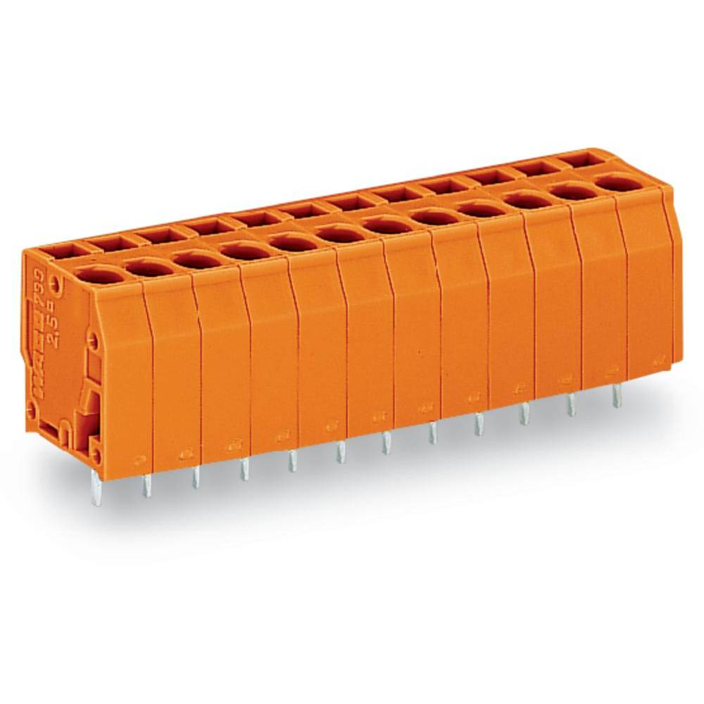 Fjederkraftsklemmeblok WAGO 2.50 mm² Poltal 16 Orange 40 stk