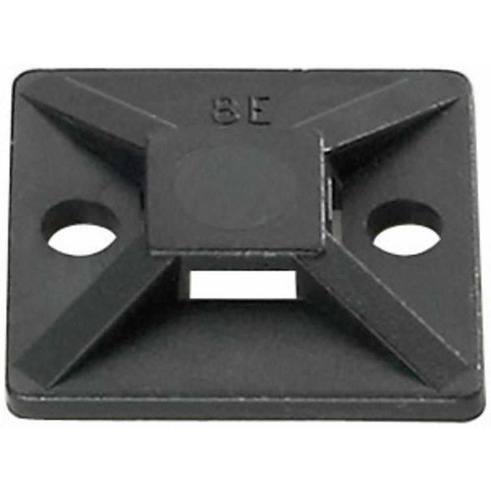 Pritrdilno podnožje, samolepljivo, namestitev s privijanjem črne barve HellermannTyton 151-28320 MB3A-N66-BK-C1 1 kos