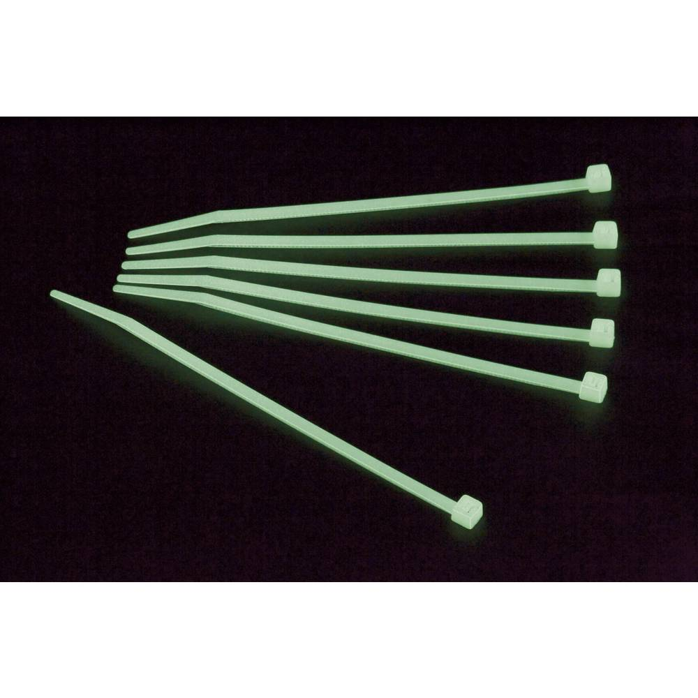 Kabelske vezice 100 mm zelene barve fosforescentne Conrad Components 546657 100 kos