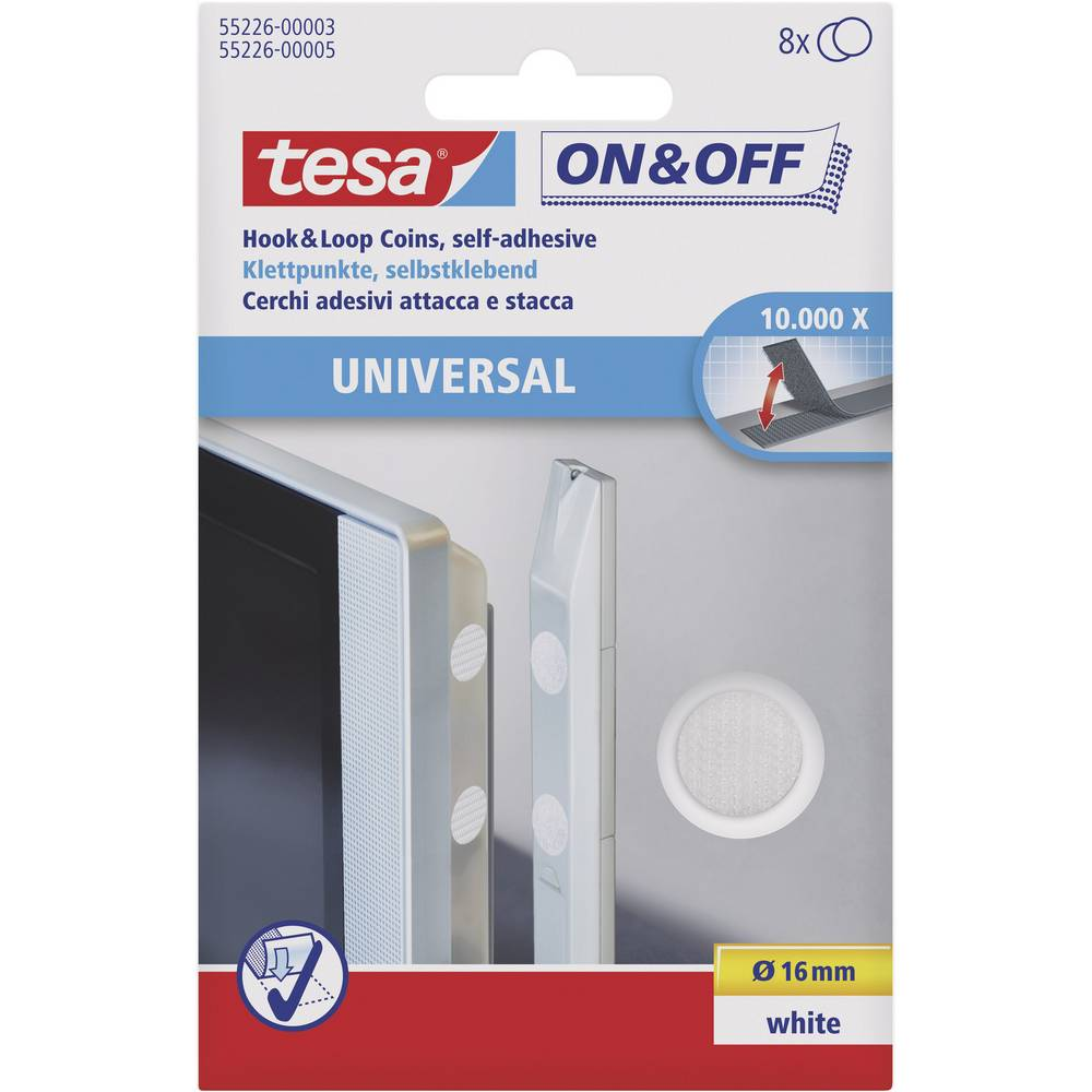 Sampljepljivi krugovi s čičkom TESA On & Off prianjajući i mekani dio () 16 mm bijela 55226-03-00 8 par