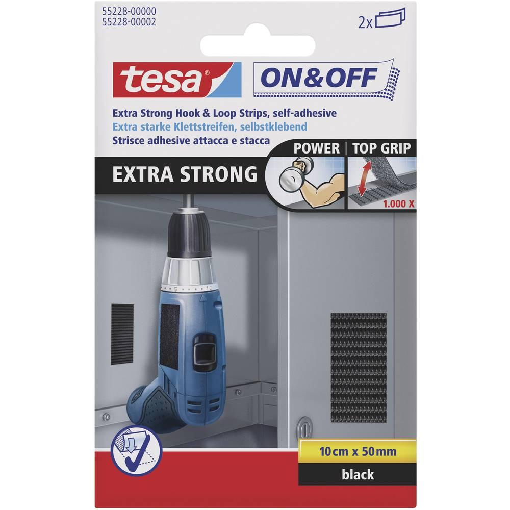 Sprijemalni trakovi za lepljenje Tesa On & Off, izjemno močni, 100 mm x 50 mm, črni, 2 kos 55228-00-01