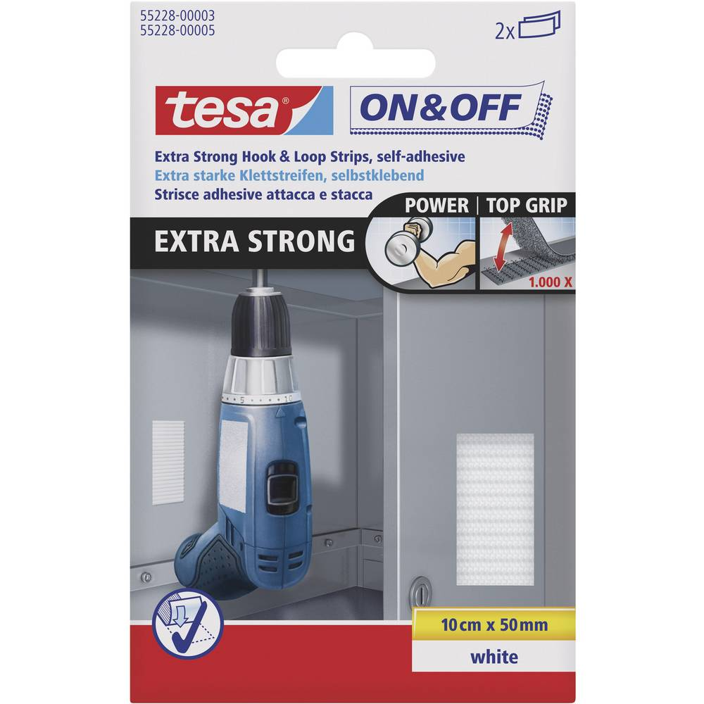 Sprijemalni trakovi za lepljenje Tesa On & Off, izjemno močni, 100 mm x 50 mm, beli, 2 kos 55228-03-00