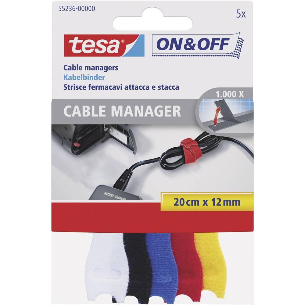 Večnamenska sprijemalna kabelska vezica Tesa On & Off, 200 mm x 12 mm, pisana, 5 kosov 55236-00-00