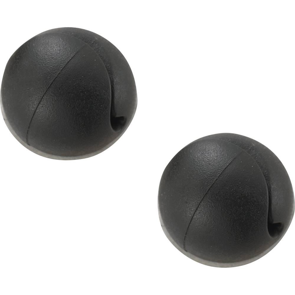 Mini držalo za kable, samoljepljivo, crno, 1 kokomad