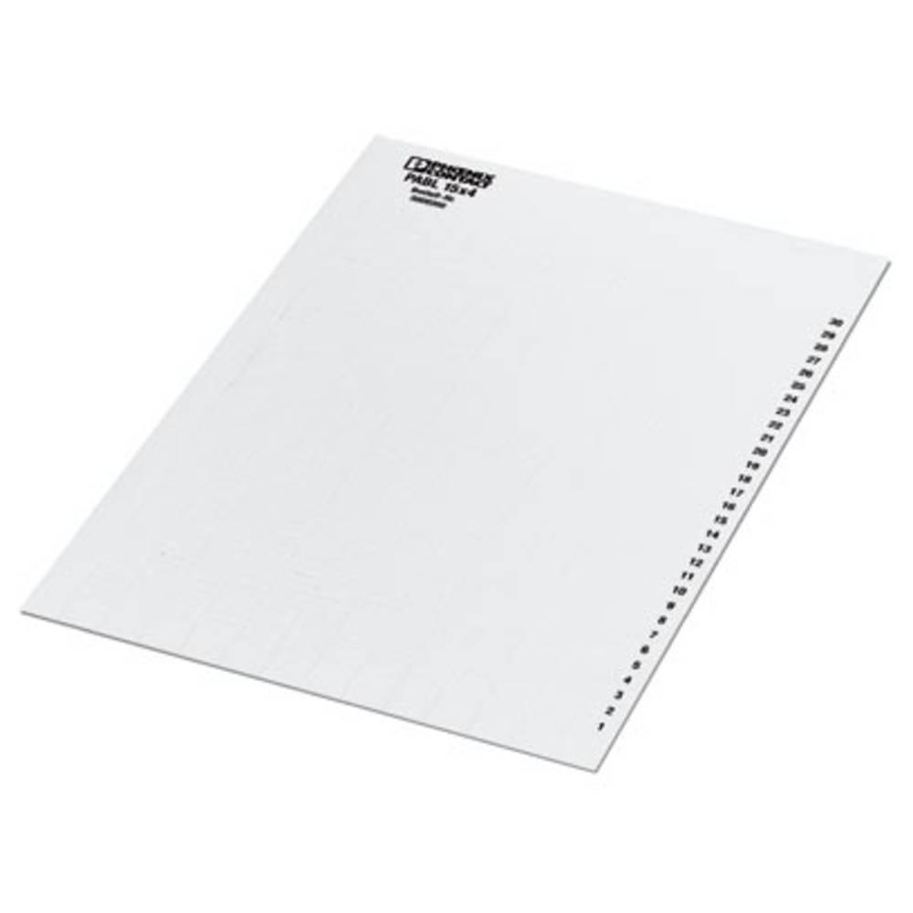 Označevalnik kablov, montaža: vstavljanje, površina: 4 x 15 mm bele barve Phoenix Contact PABL 15X4 0808260 10 kosov