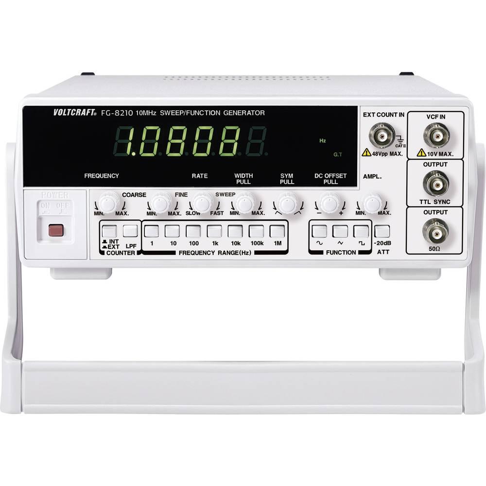 VOLTCRAFT® 8210 jednokanalni funkcijski generator 0.1 Hz - 10 MHz izlazni oblici signala sinus, pravi kut, trokut, rampa, pu