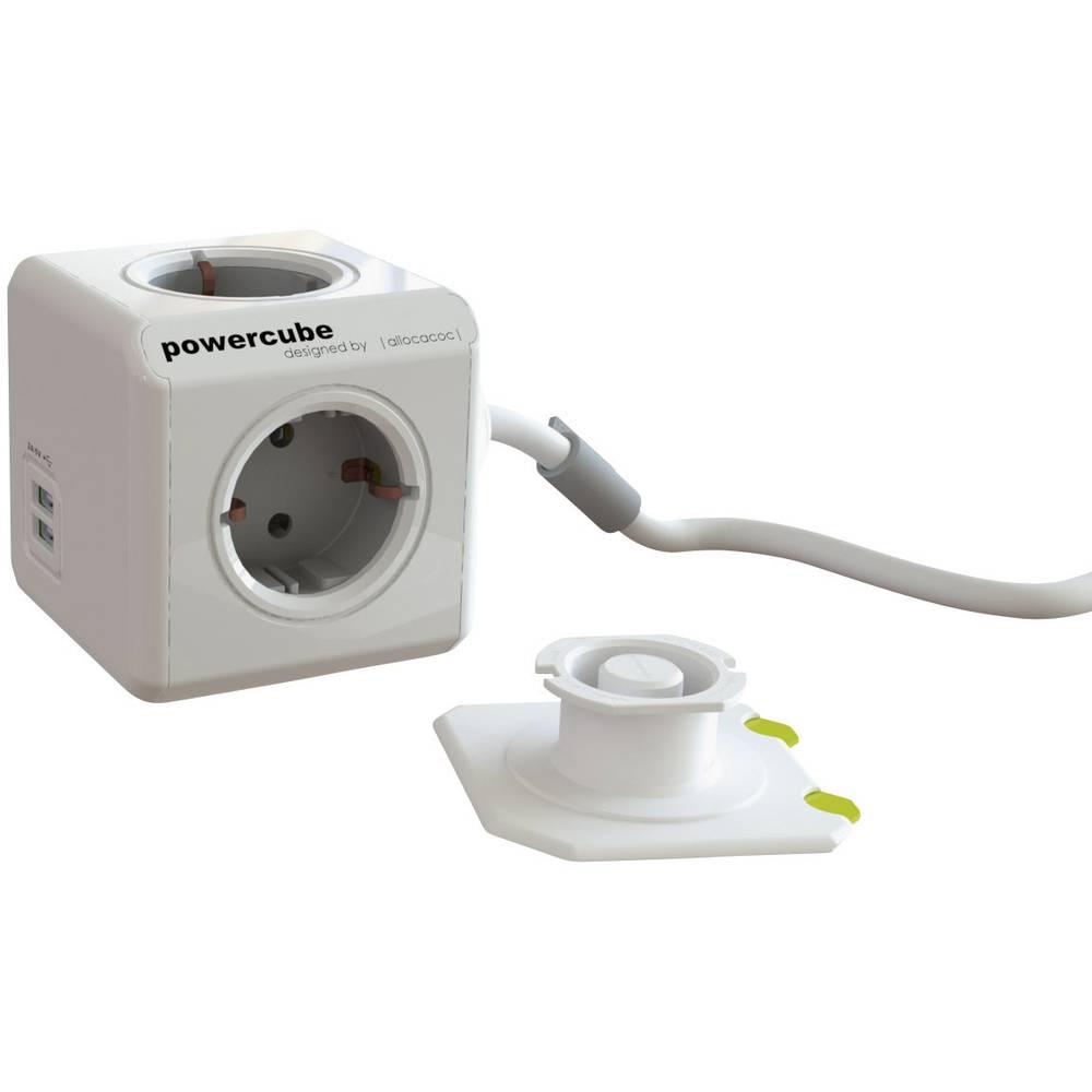 Segula kocka s utičnicama Powercube USB sivo-bijela, siva H05VV-F 3G 1,5 mm