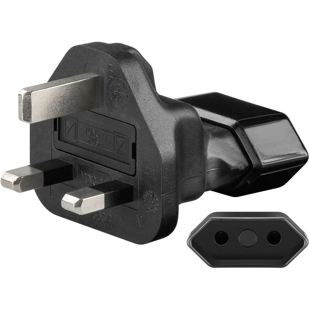 Potovalni adapter Goobay, evropska vtičnica na britanski vtič, črne barve 95303