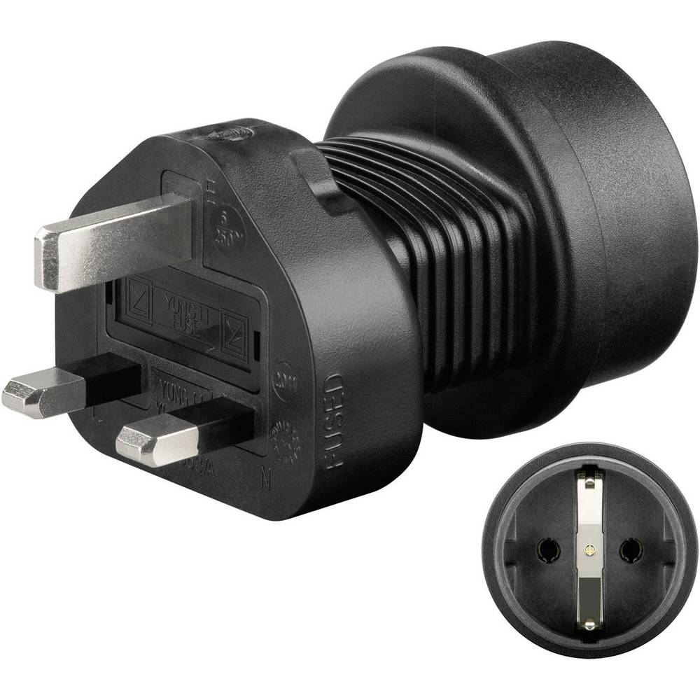 Adapter Goobay 95307 šuko utikač auf UK utikač crna