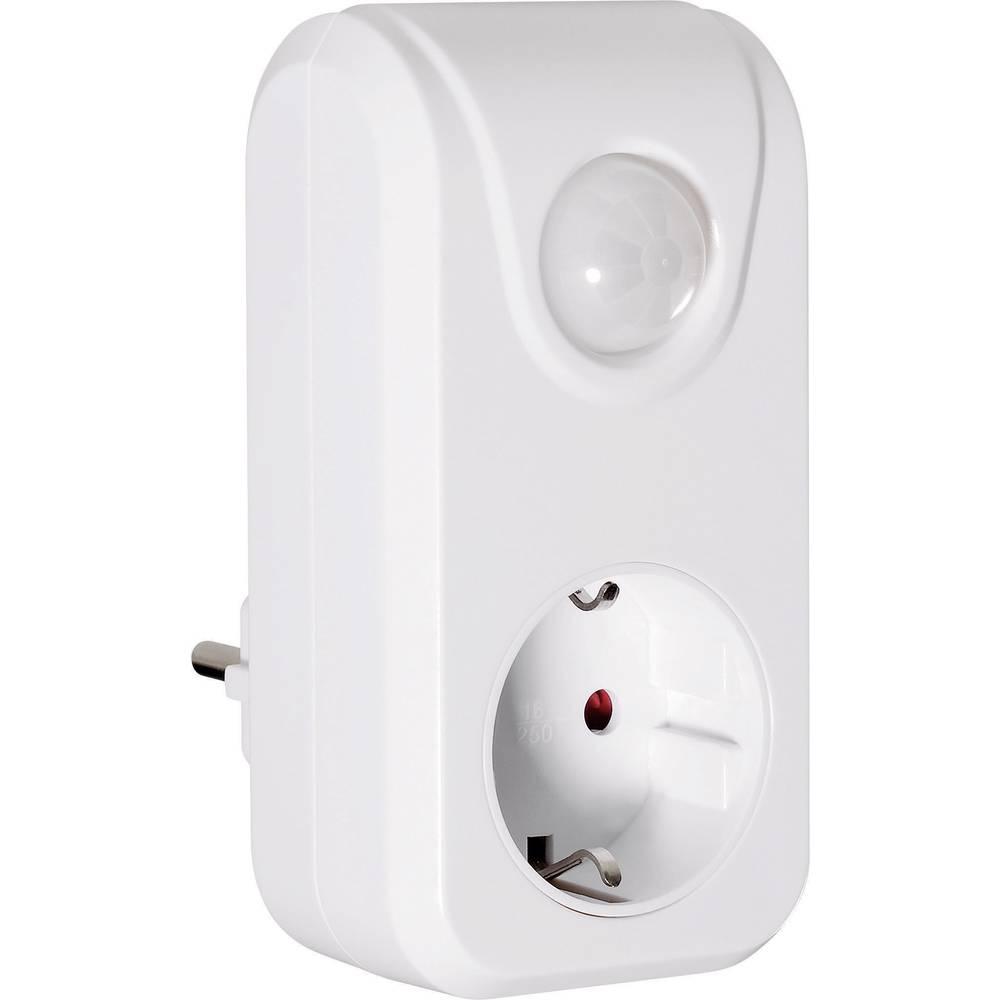 CE Vtični adapter z detektorjem gibanja, bele barve, kot zajemanja 100 °