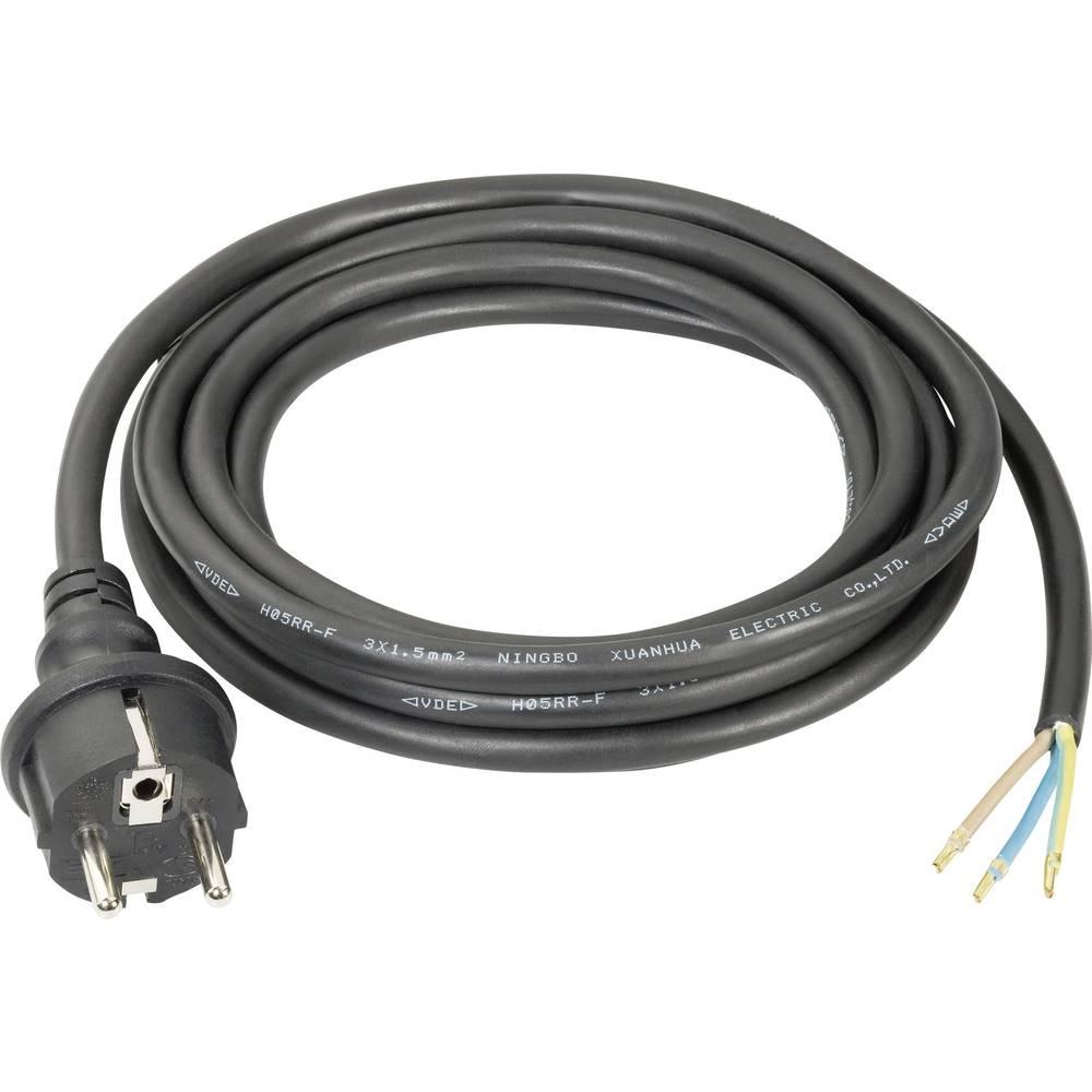 Priključni kabel [ varnostni vtič - kabel, odprti konec] črni 3 m CE