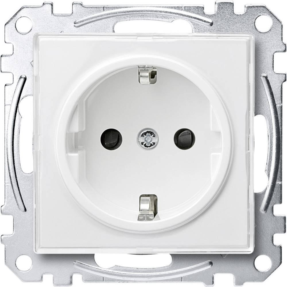 Merten vložek, varnostna vtičnica M-Creativ prozorni, polarno bele barve MEG2300-3500