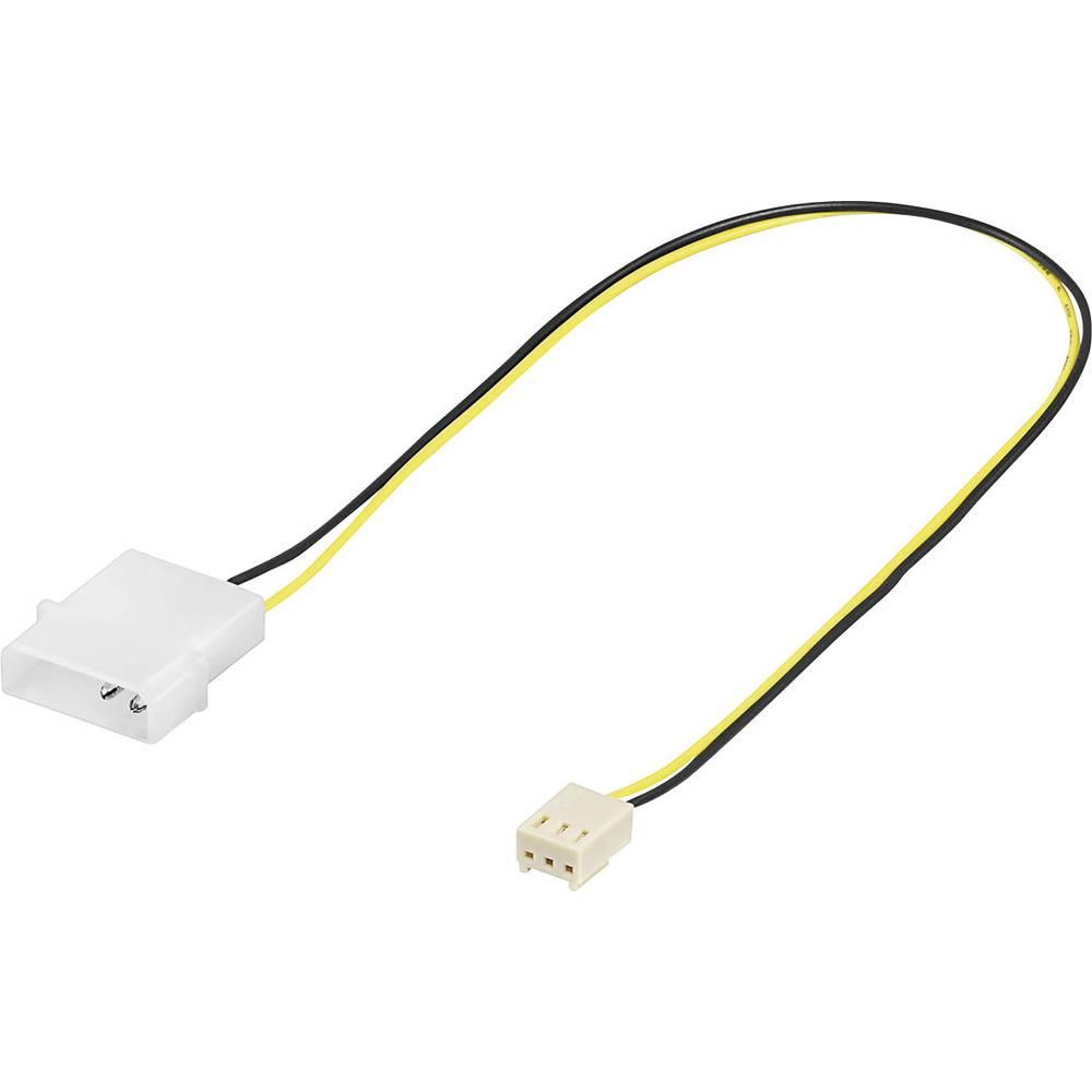 Priključni kabel za PC ventilator [1x utikač za PC ventilator 3pol. - 1x IDE strujni utikač 4pol.] 10 cm crni, žuti Goobay