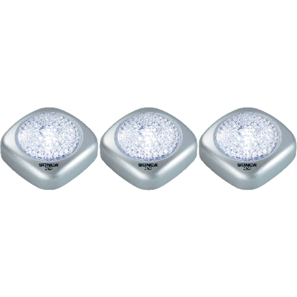 Majhne prenosne LED svetilke Mini Push Light, 3-delni komplet, srebrne barve, fiksno vgrajene LED