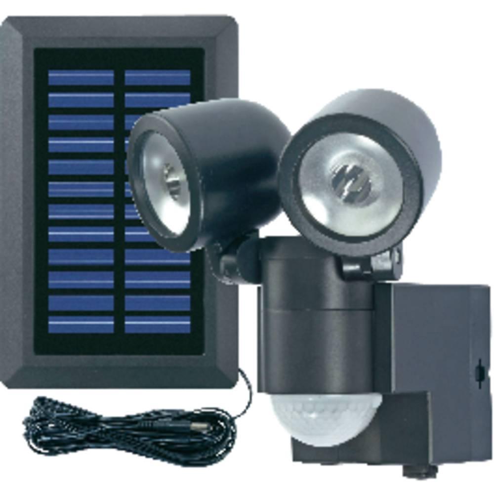 Solcells-spotlight med rörelsedetektor GEV Lightboy 2 W Kallvit Svart