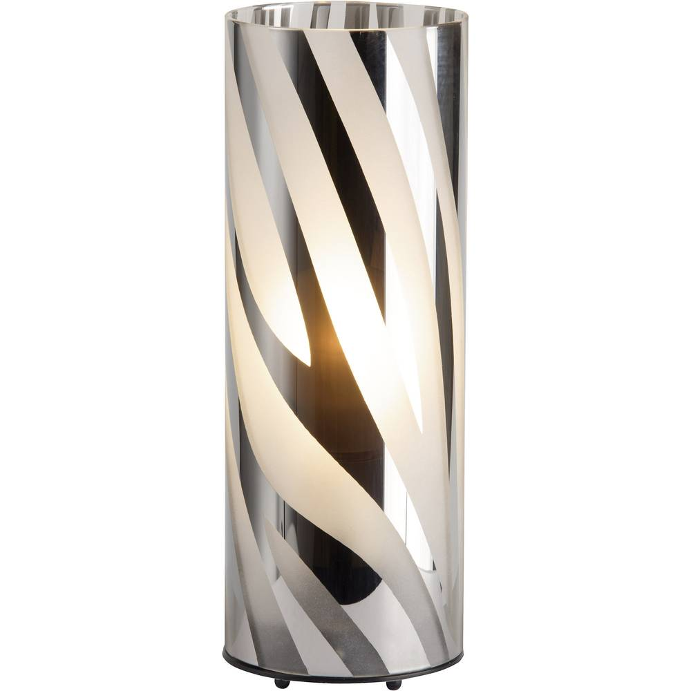 Namizna luč halogenska žarnica, energijsko varčna žarnica E27 60 W Brilliant Wega 24547/15 krom