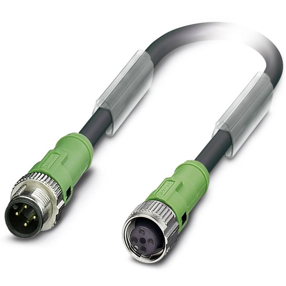 Sensor-, aktuator-stik, M12 Stik, lige, Tilslutning, lige 2 m Pol-tal (RJ): 4 Phoenix Contact 1555716 SAC-4P-MS/ 2,0-186/FS SCO
