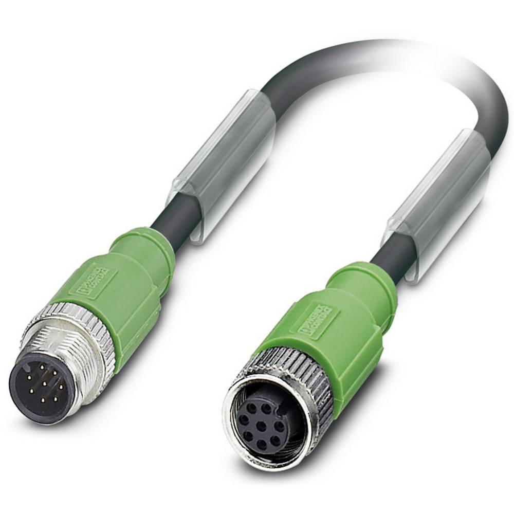 Sensor-, aktuator-stik, M12 Stik, lige, Tilslutning, lige 1.50 m Pol-tal (RJ): 8 Phoenix Contact 1522985 SAC-8P-M12MS/ 1,5-PUR/M