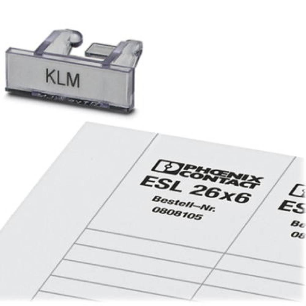 Terminal strip marker carrier KLM + ESL 26X6 KLM + ESL 26X6 Phoenix Contact Indhold: 100 stk