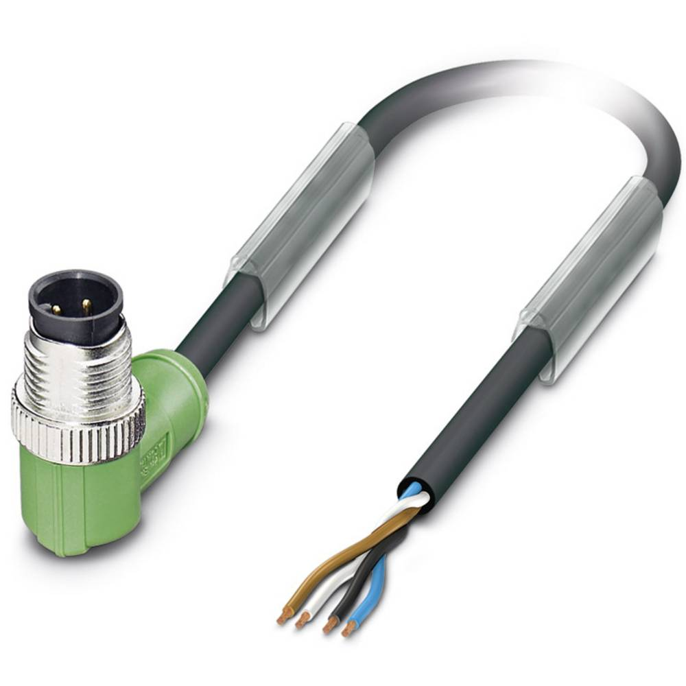 Sensor-, aktuator-stik, M12 Stik, vinklet 5 m Pol-tal (RJ): 4 Phoenix Contact 1668182 SAC-4P-M12MR/5,0-PUR 1 stk